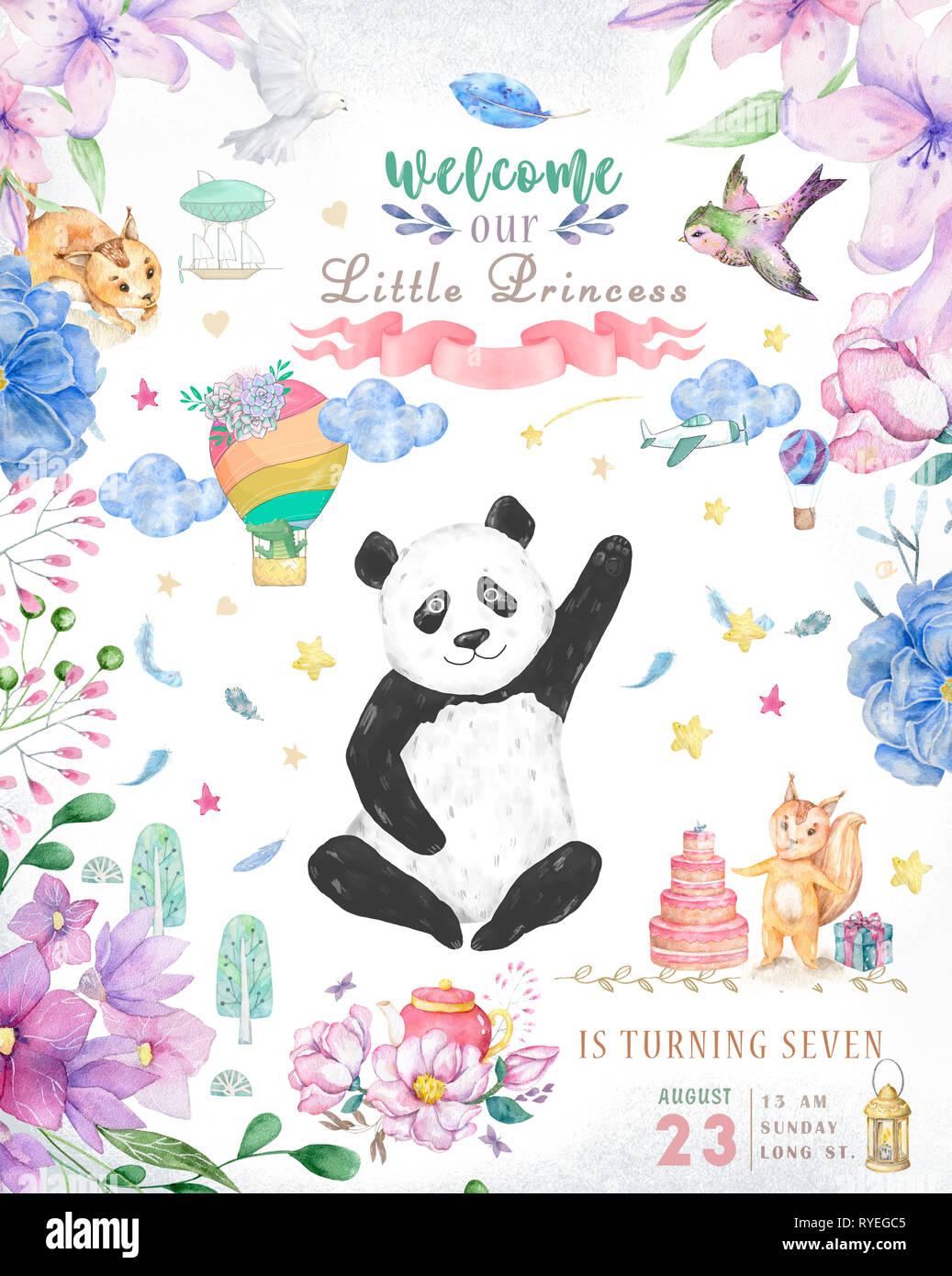 Happy Birthday Card Design Mit Niedlichen Pandabar Und Boho Blumen Blumenstrausse Abbildung Aquarell Clip Art Fur Grusskarte