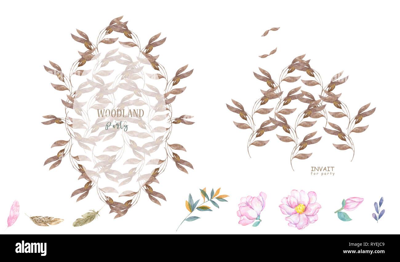 Hochzeit blumen aquarell stil botanischen einladen einladung datum speichern card design mit wald grün kräuter