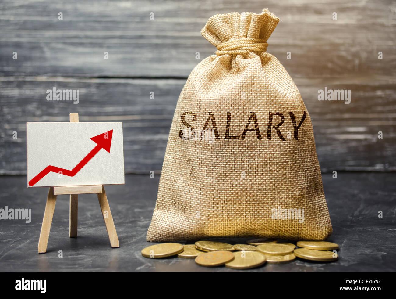 Beutel mit Geld und Wort Lohn- und Pfeil-nach-oben und Münzen. Der Anstieg der Gehälter, Löhne. Förderung. Karriere Wachstum. Die Hebung des Lebensstandards. Incre Stockfoto