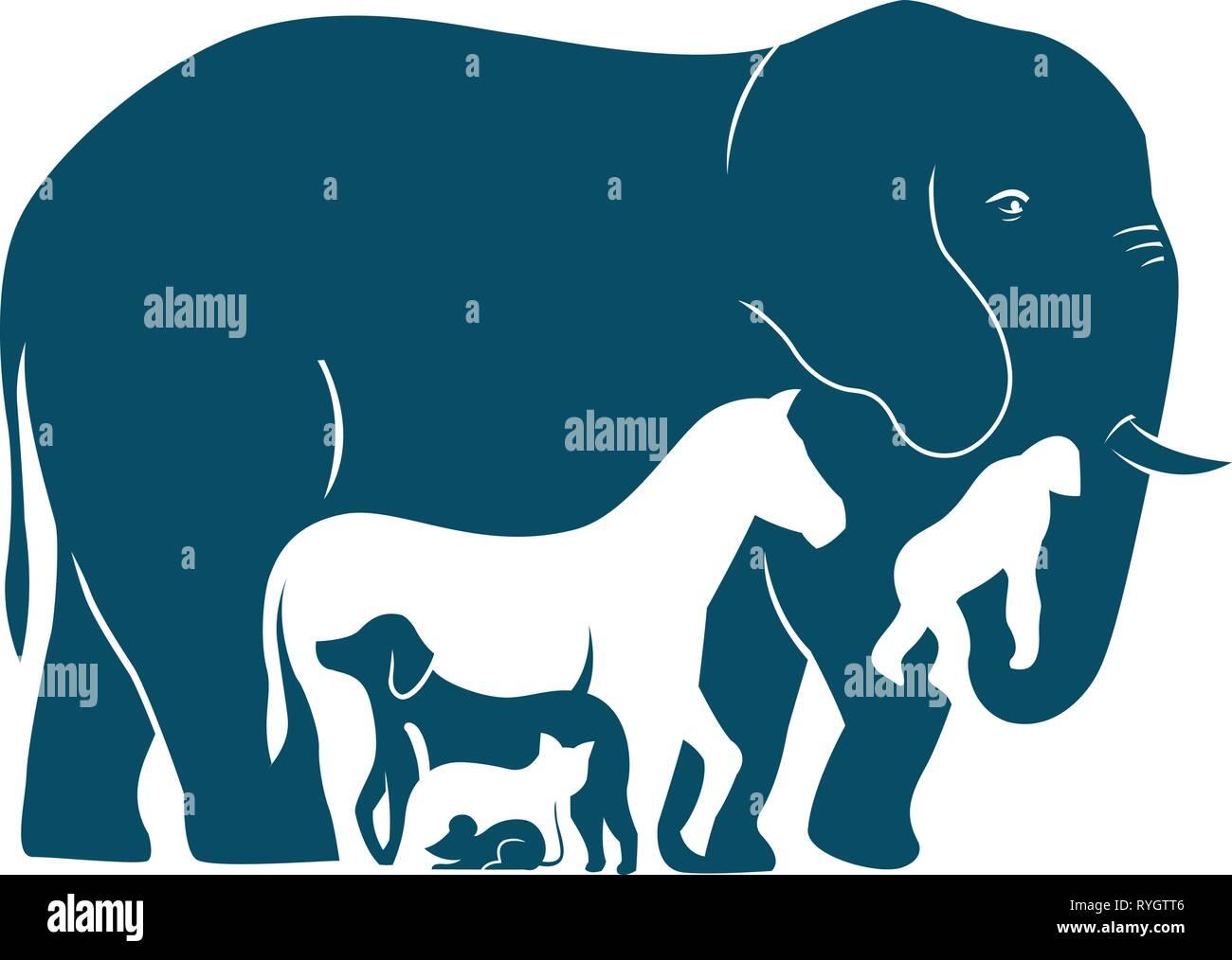 Die Abbildung zeigt verschiedene Säugetierarten, wie sie in der Gewichtszunahme. Abbildung: Im Stil Silhouette gemacht Stockbild