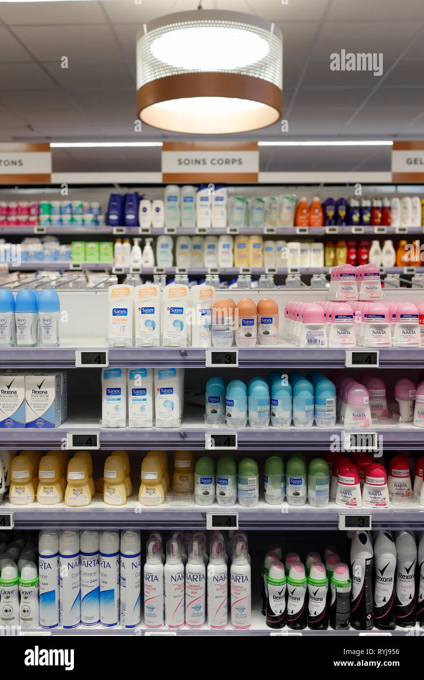 Kosmetik. Supermarkt. Frankreich. Stockbild