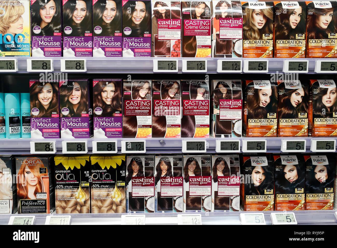 Kosmetik. Shampoo. Supermarkt. Frankreich. Stockbild