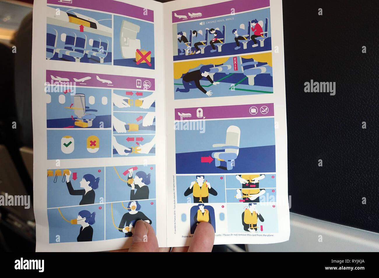 Air France. Airbus 321. Safety Card. Genf. Die Schweiz. Stockbild