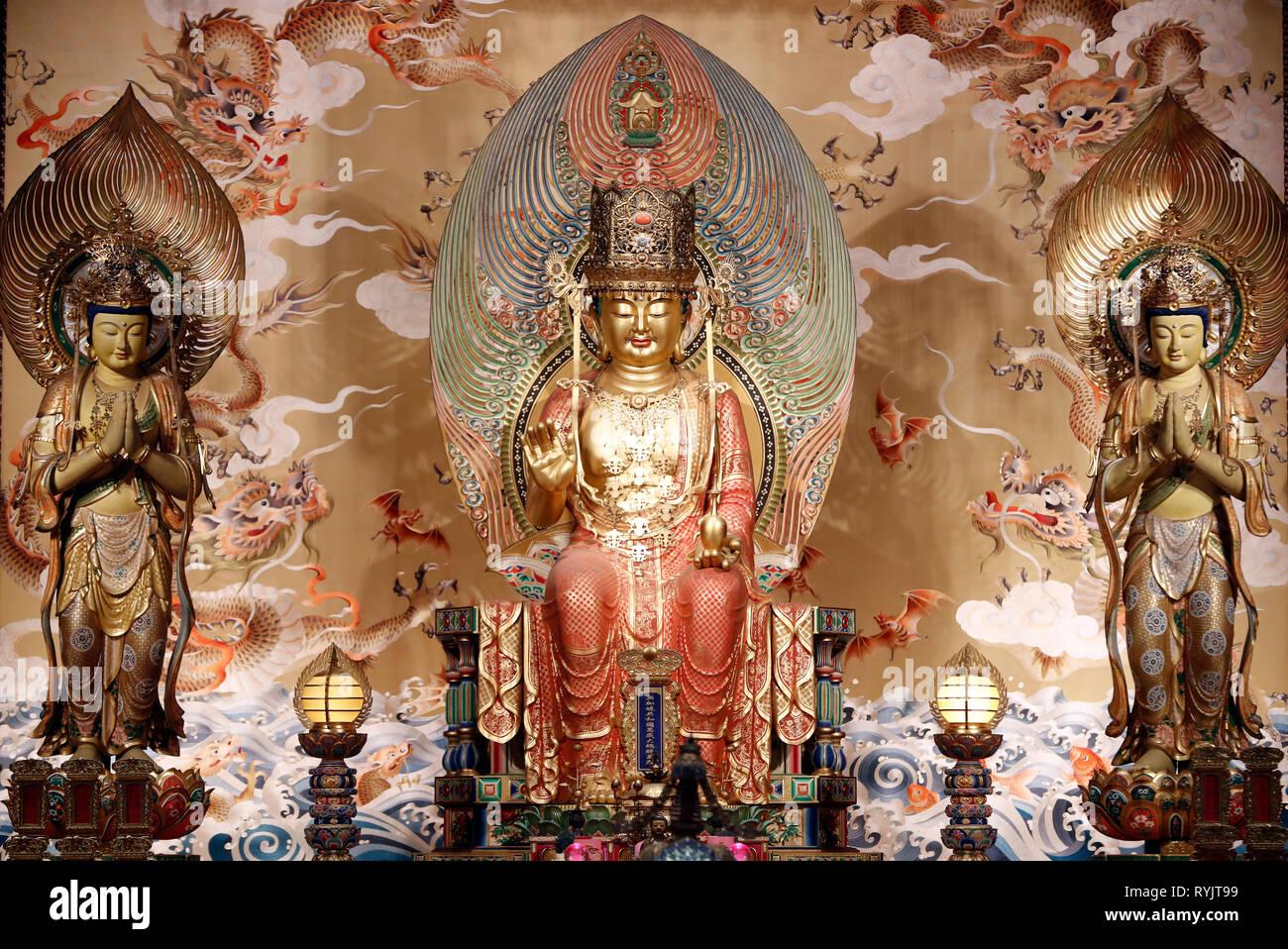 Buddha Zahns Tempel in Chinatown. Buddha Maitreya Statue - die Zukunft Bouddha. Singapur. Stockbild