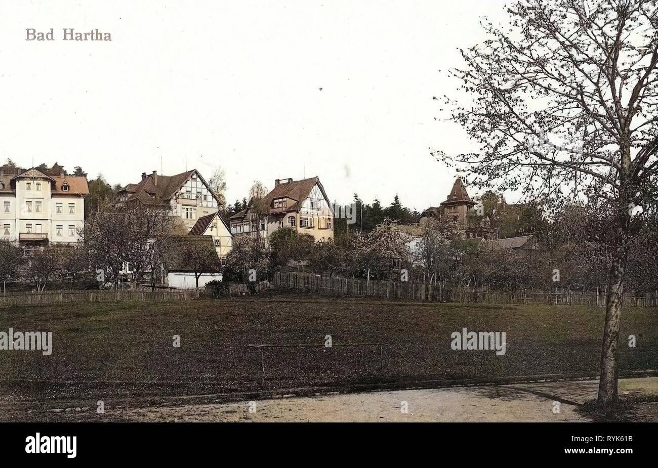 Gebäude im Landkreis Sächsische Schweiz-Osterzgebirge, Kurort Hartha, 1917, Landkreis Sächsische Schweiz-Osterzgebirge, schlechte Hartha, Teilansicht, Deutschland Stockbild