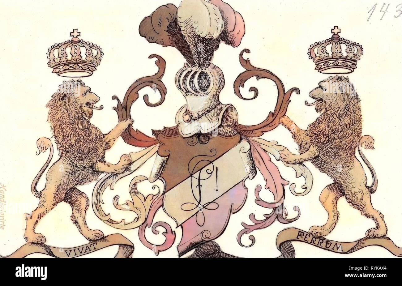 Gemälde, Mottos auf Schriftrollen, Armee von Sachsen, Tierced pro finsteren Schutzvorrichtungen verbiegen, Argent, Gules, Zobel in der Heraldik, 1900, Wappen Schützen Regiment, Deutschland Stockbild