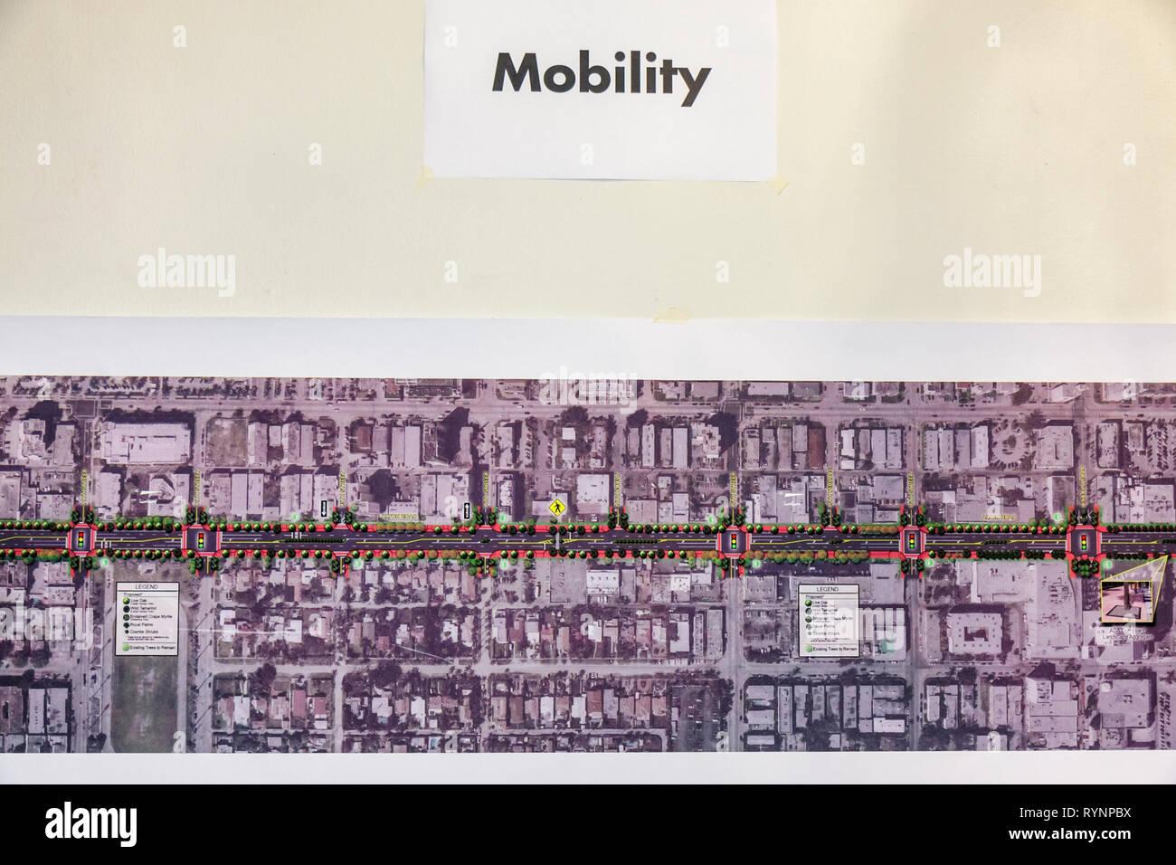 Miami Beach Florida Community Planning Workshop Alton Road Korridor zukünftige City Board Karte Poster Präsentation Informationen mobili Stockbild