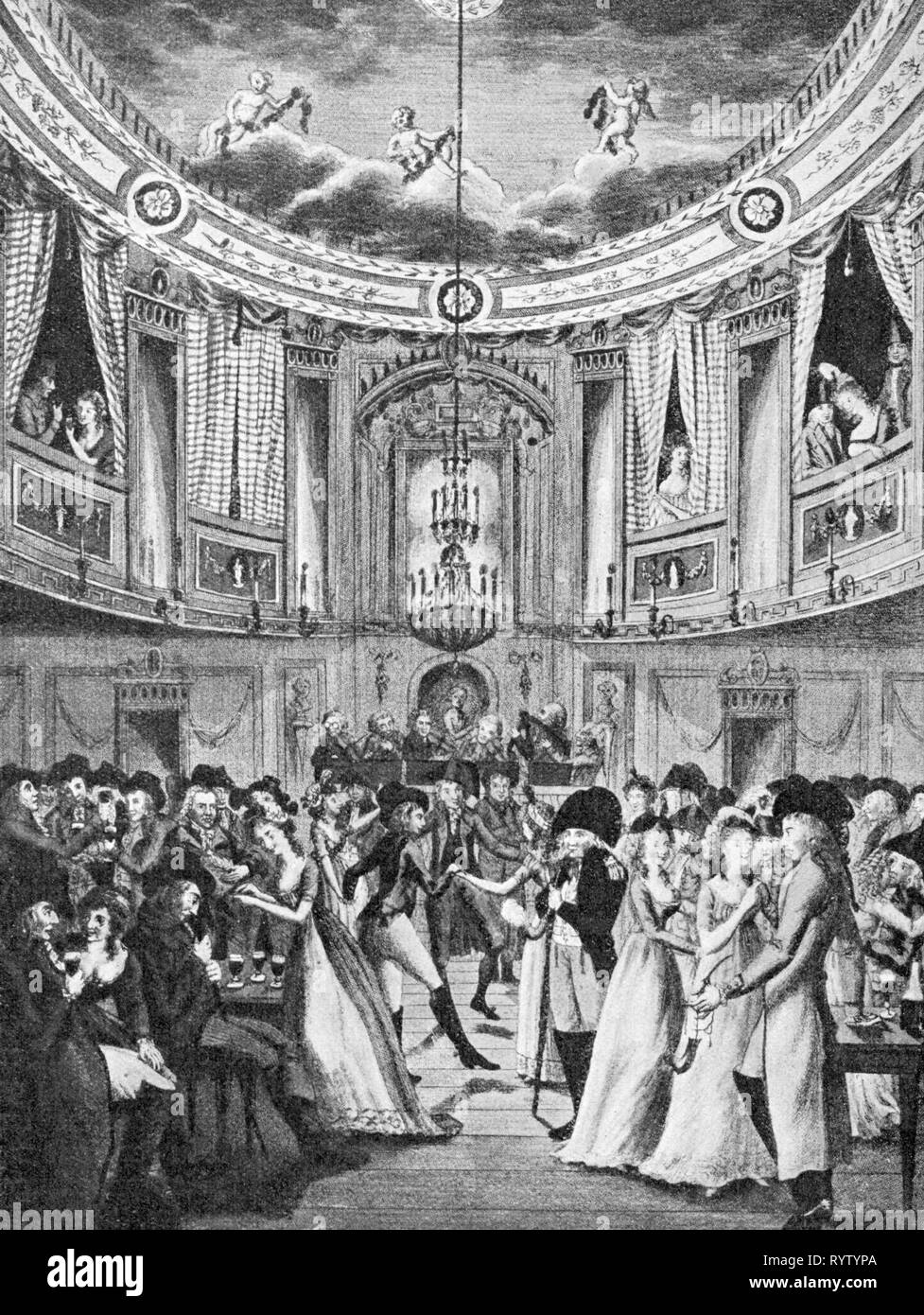 Feste, Bälle und Gesellschaften, soiree im Berg Dance Hall, Berlin, ca. 1790, Additional-Rights - Clearance-Info - Not-Available Stockbild