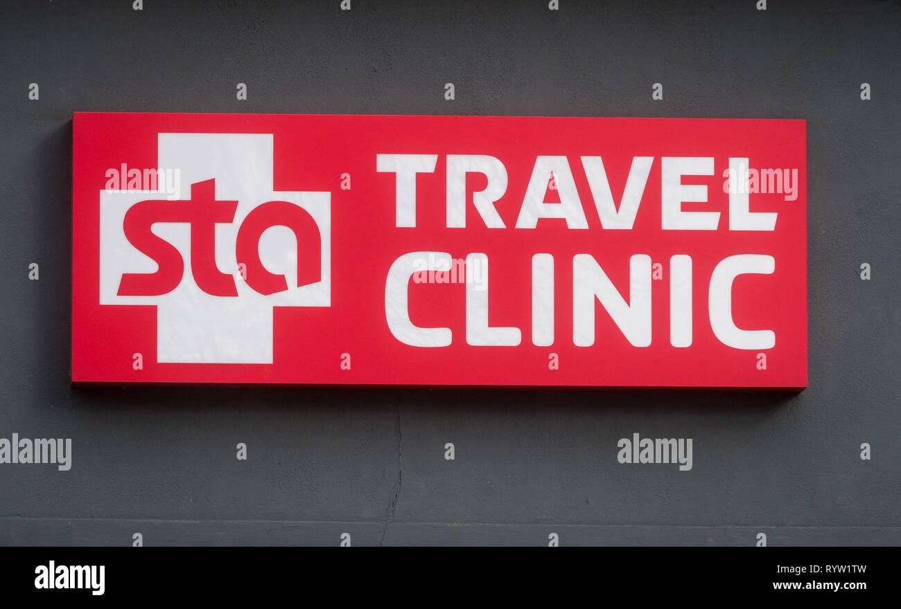 STA Travel Klinik in Southampton Stockbild