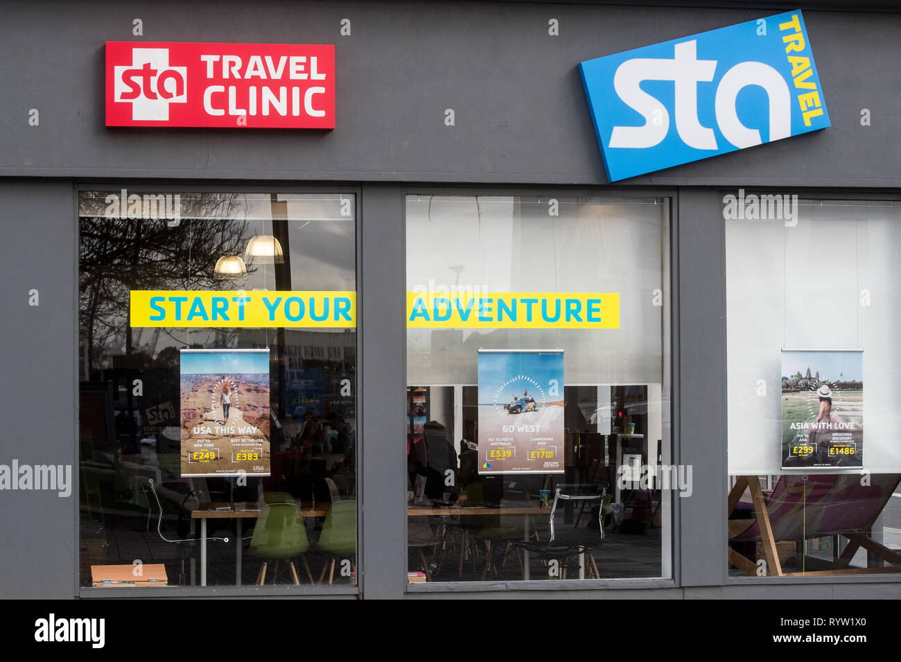 STA Travel Agent shop in Southampton Stockbild