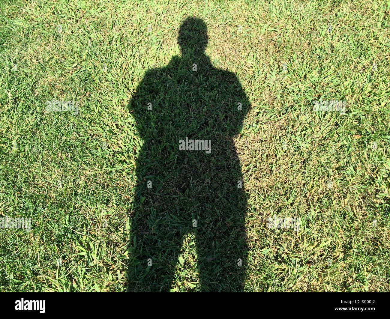 Einen langen Schatten auf dem Rasen Stockbild