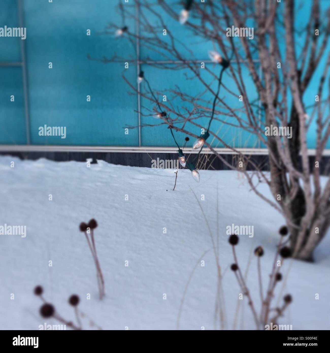 Winter-Szene, Schnee, Urlaub Weihnachtsbeleuchtung. Stockbild