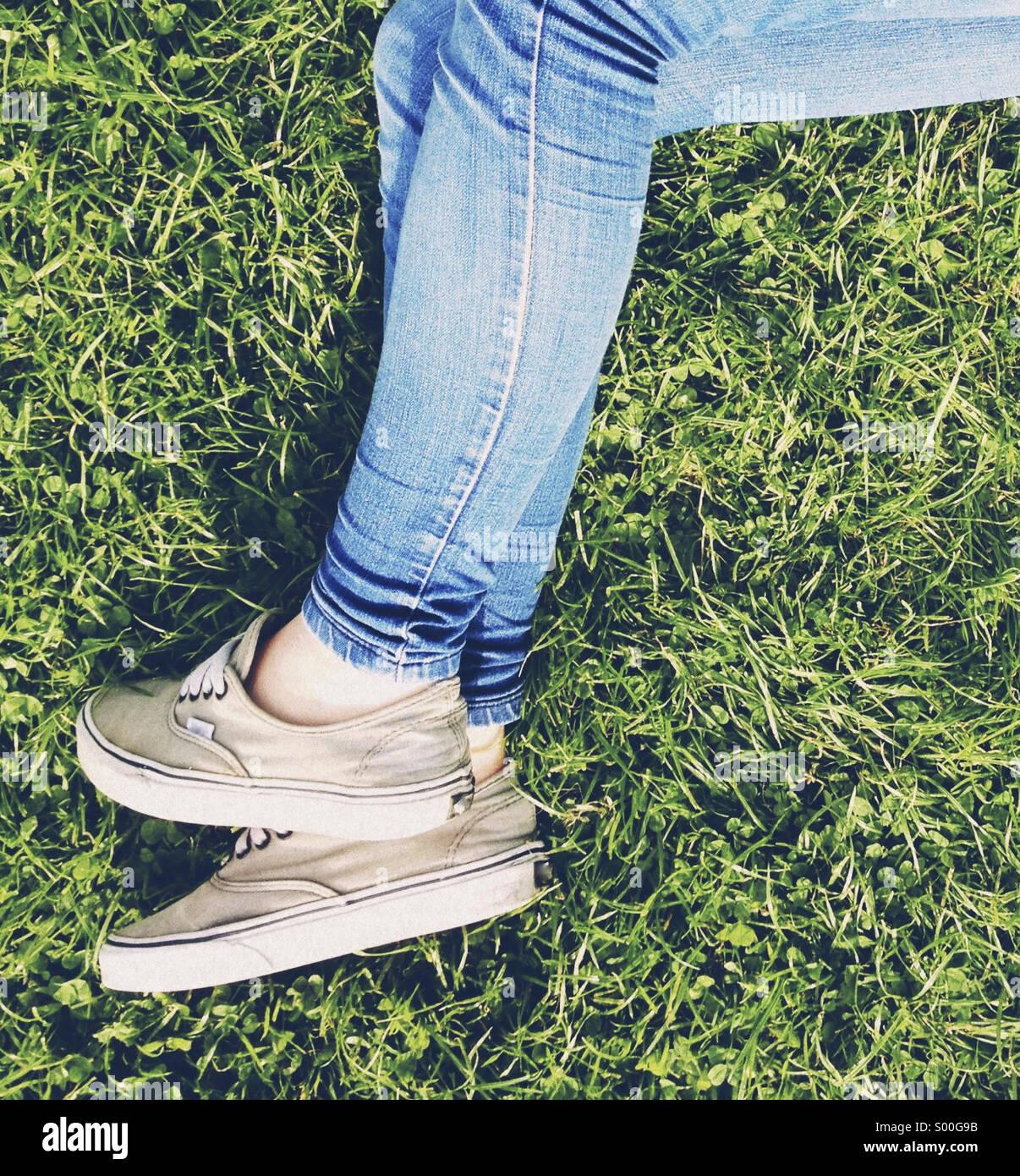Verlegung auf Rasen Stockbild