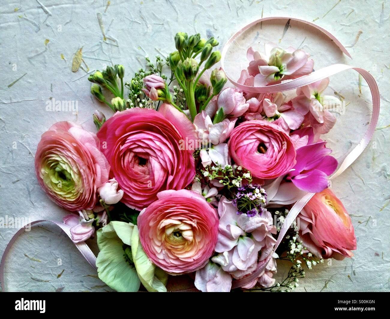 Gemischt Pastell Frühlingsblumen Stockbild