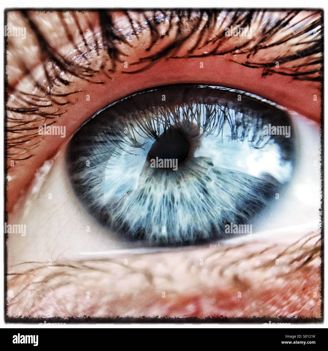 Makroaufnahme einer Frau Auge Stockbild