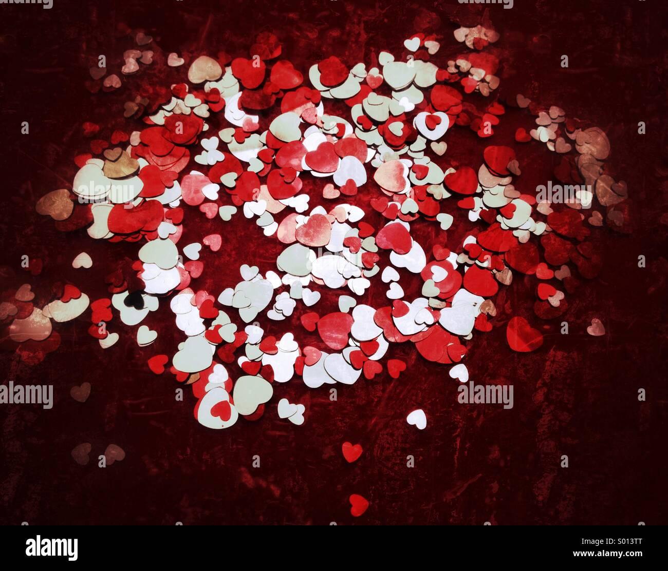 Konfetti in Herzform Stockbild
