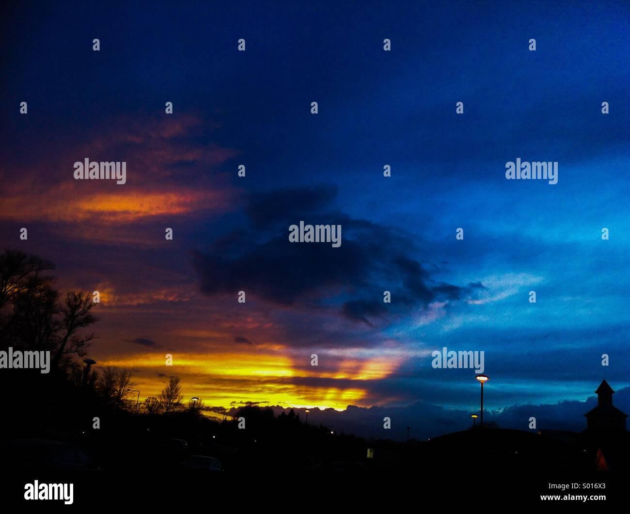 Sonnenuntergang in der Nähe von Lowestoft Stockbild