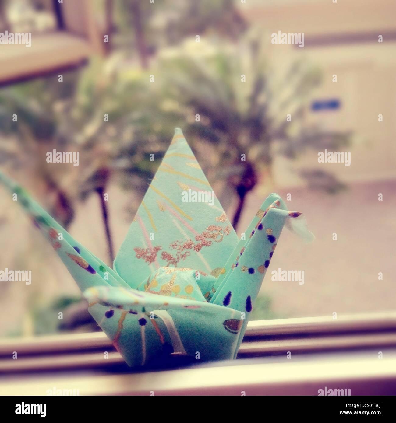 Origami-Kranich Stockbild