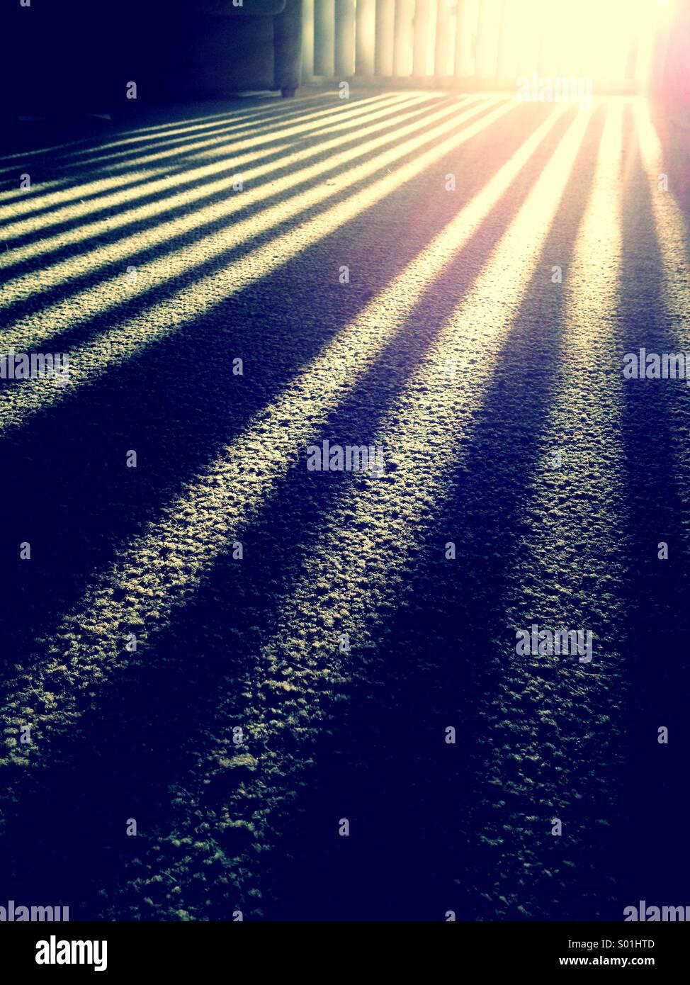 Sonnenlicht durch Jalousien Stockbild