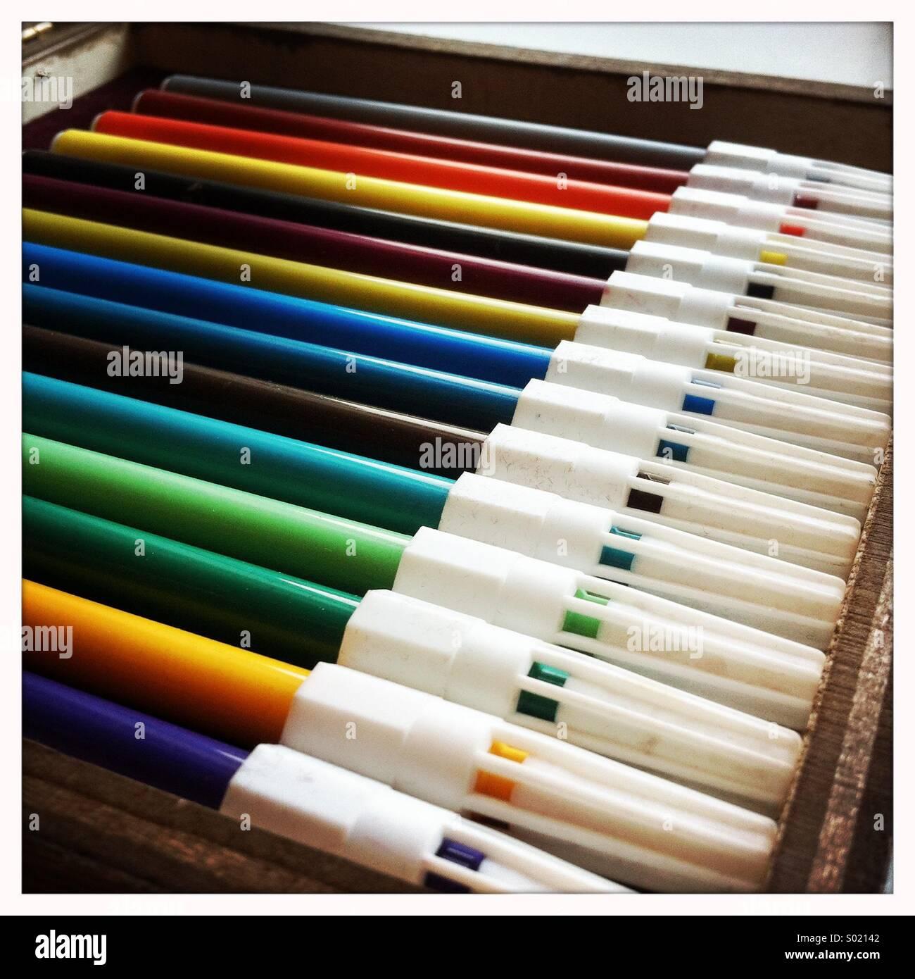Farbige Stifte Stockfoto