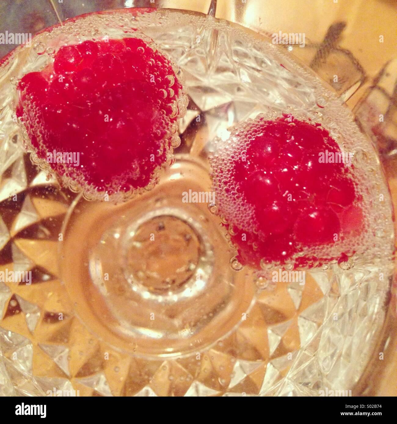 Himbeeren in der champagne Stockbild