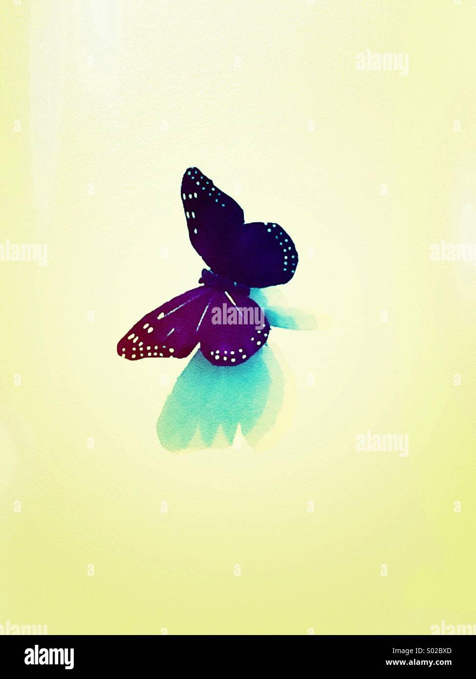 Lila Schmetterling (gefiltert und texturiert) Stockbild