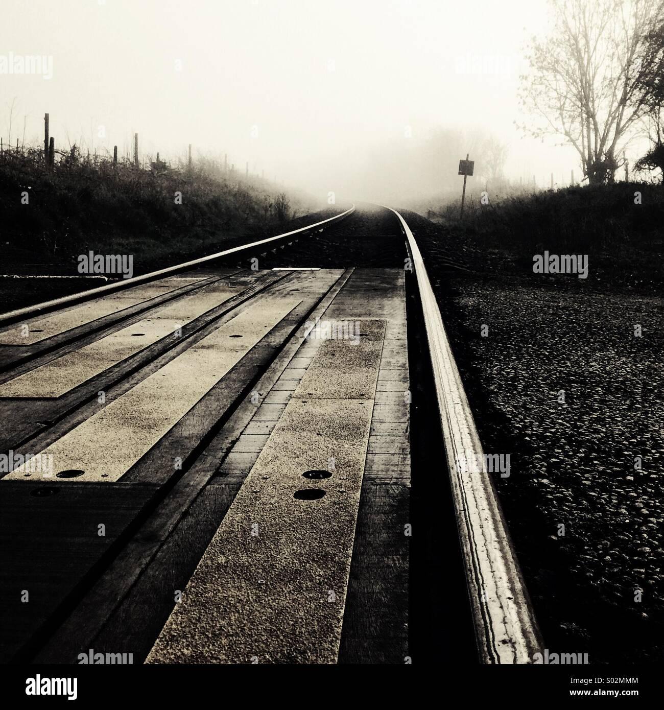 Eisenbahn im Nebel (schwarz & weiß) Stockbild