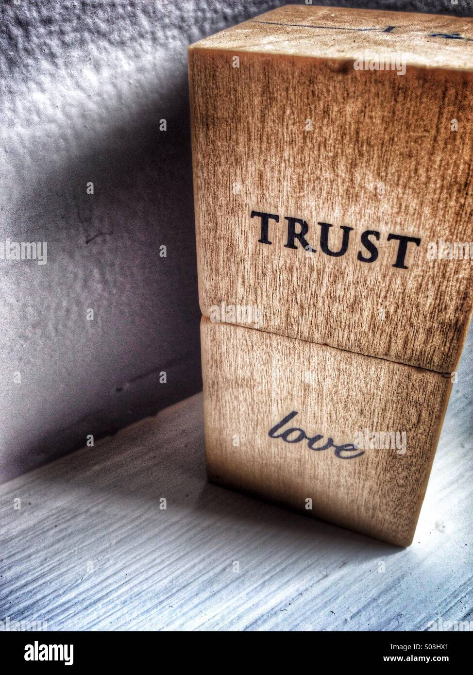 Vertrauen Sie auf Blöcke geschrieben. Stockfoto