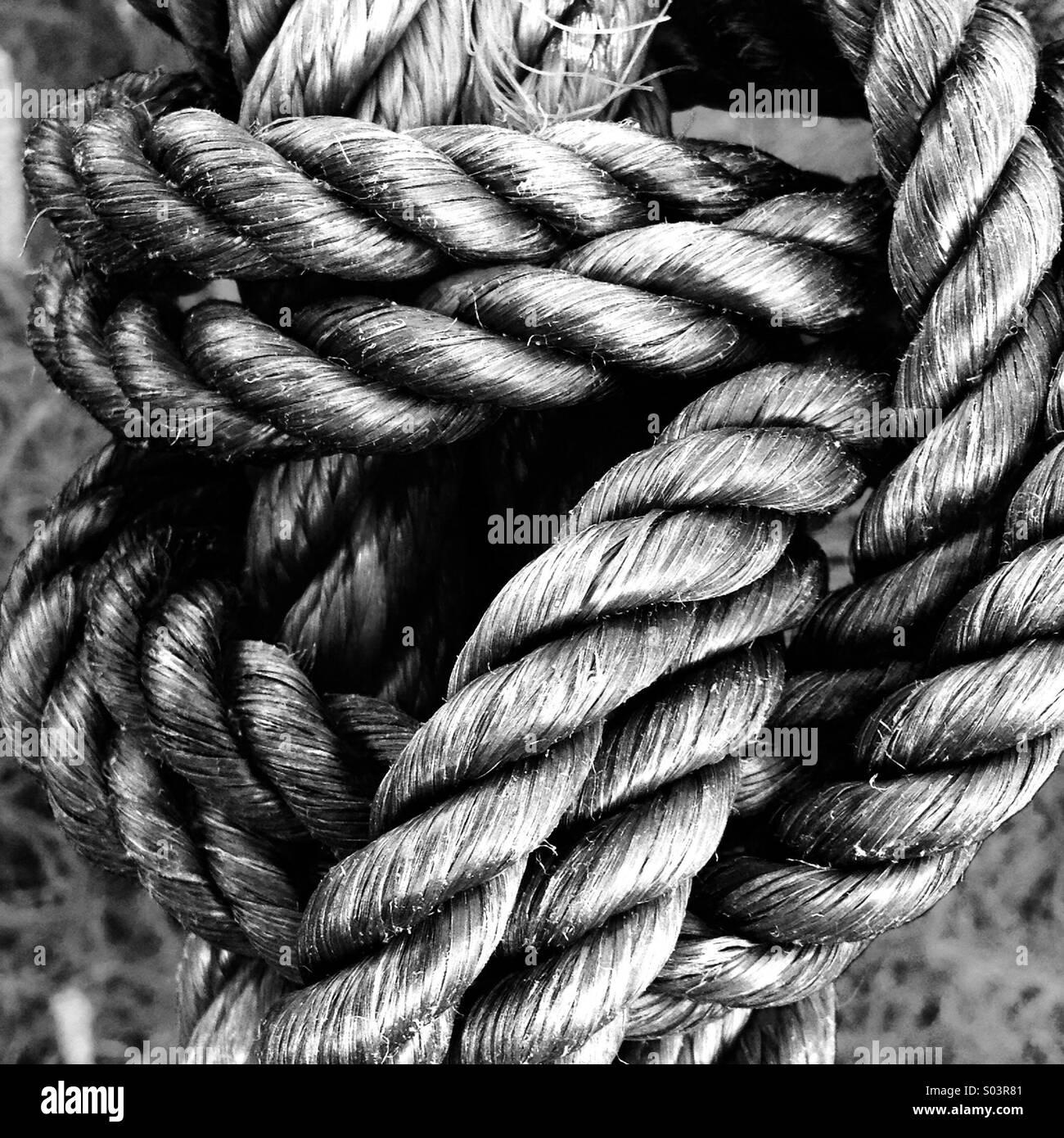 Starke Festigkeit eines Seils Textur. Stockbild