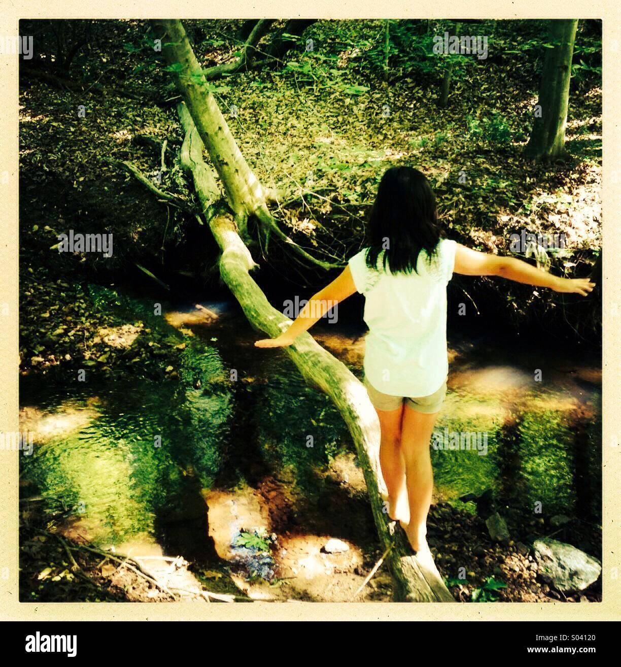 Mädchen auf umgestürzten Baum balancieren Stockbild