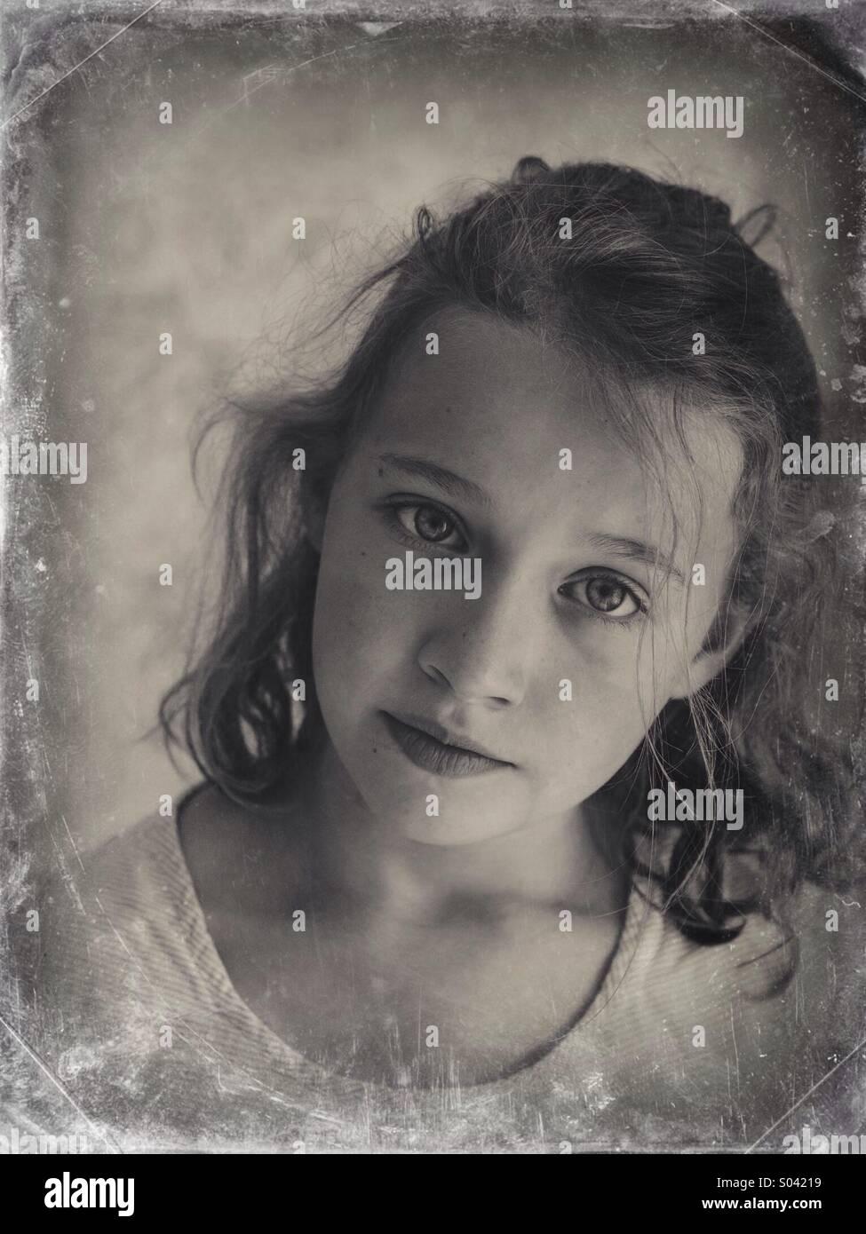 Neun Jahre altes Mädchen Stockbild