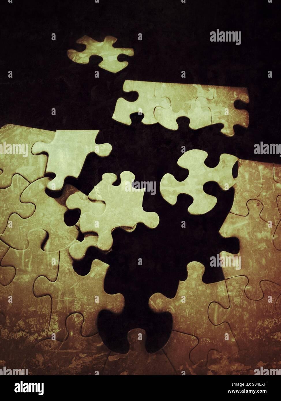 Unfertige puzzle Stockbild