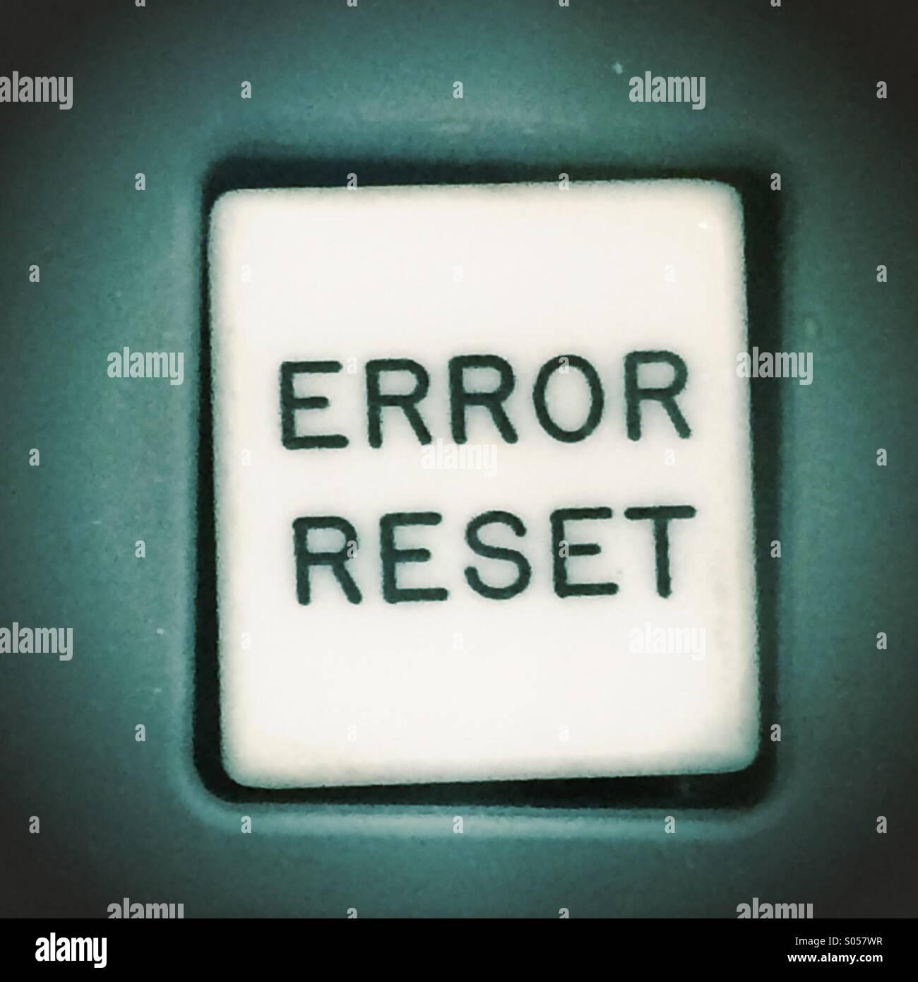 Fehler Reset-Taste (Apollo Mond Anleitung Computer) Stockbild