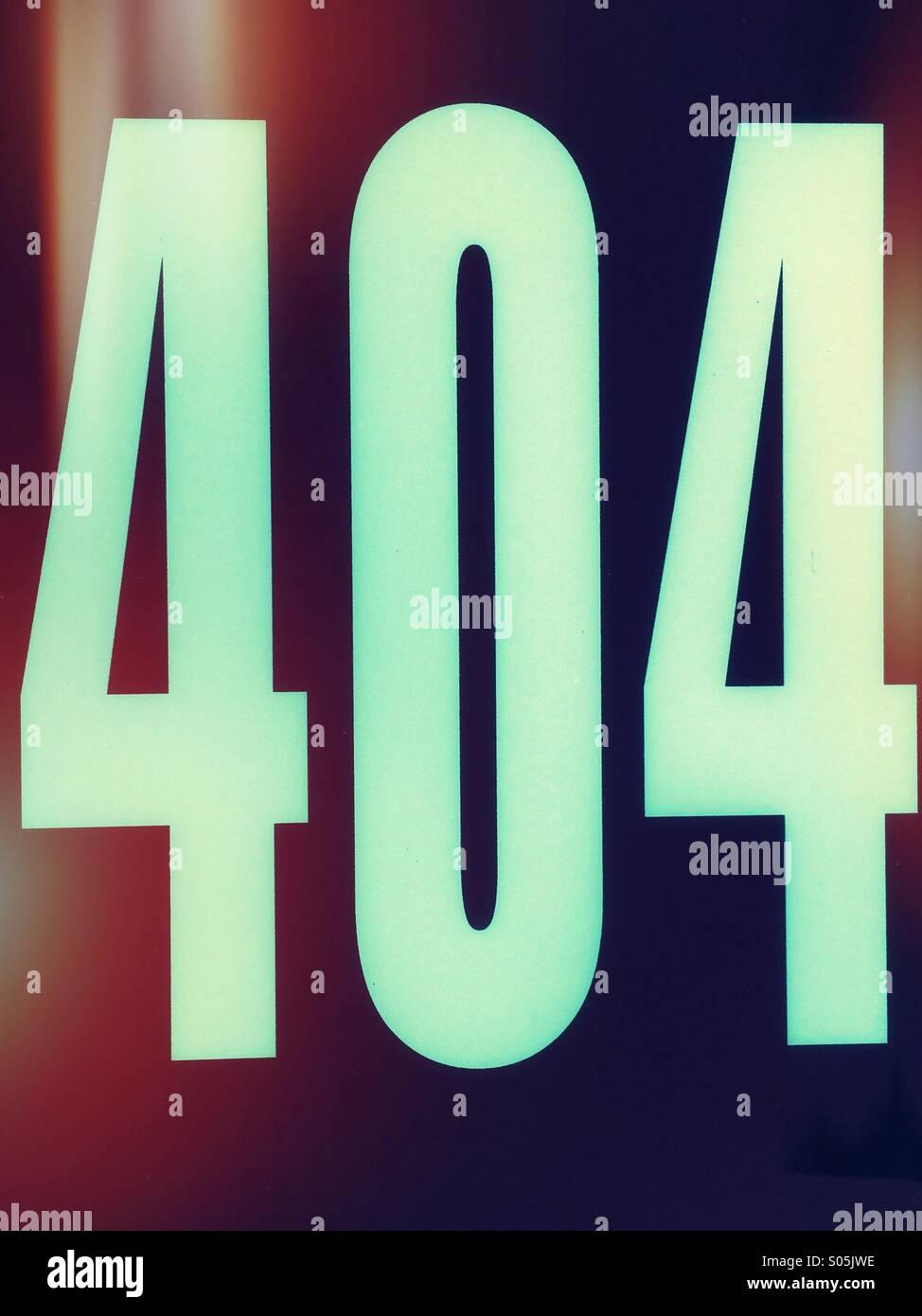 Fehler 404 bedeutet, dass die Website, die Sie zugreifen wollten nicht gefunden wurde. Stockbild