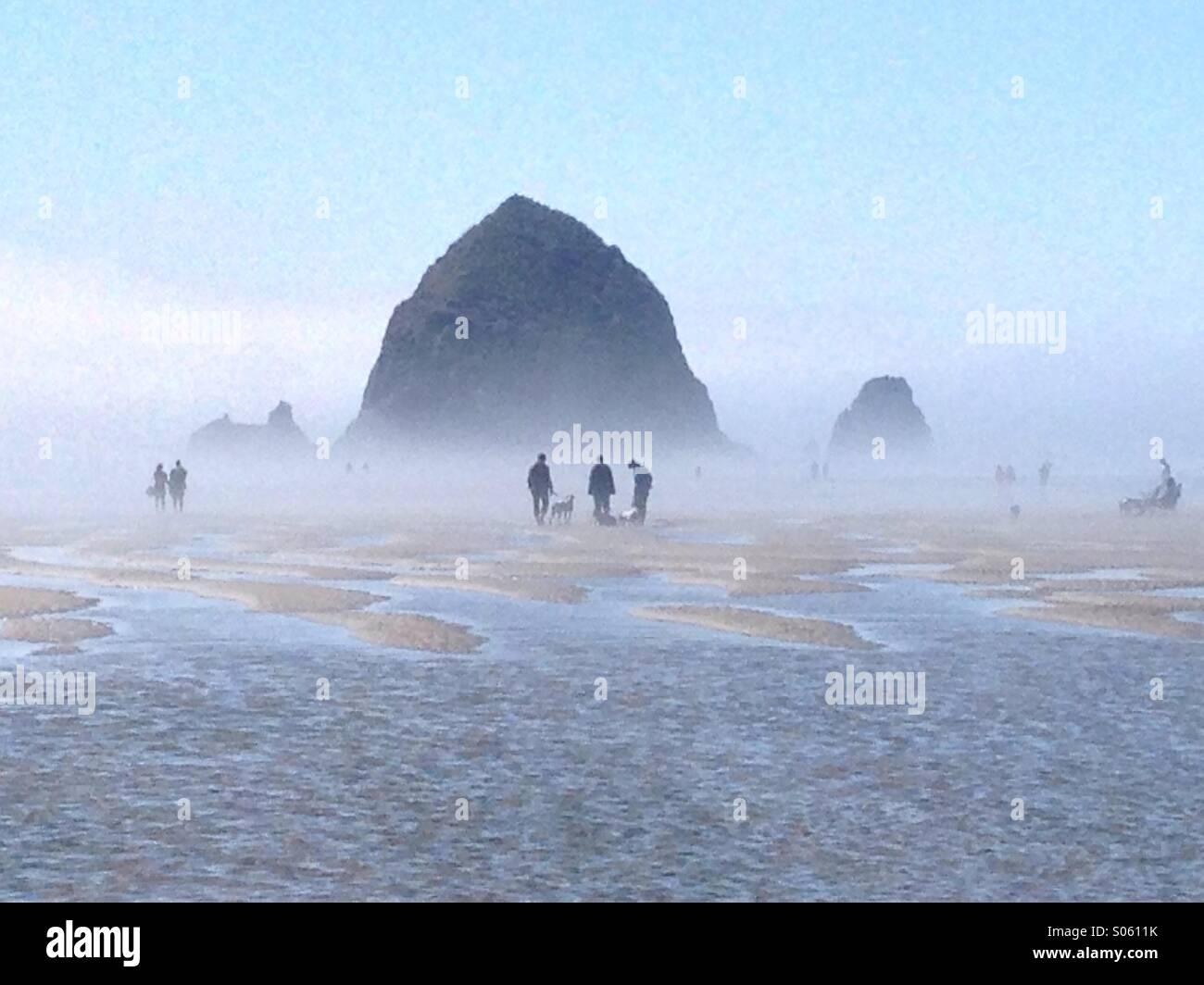 Strandurlauber sind im Nebel gegen Haystack Rock in Cannon Beach, OR Silhouette. Stockbild