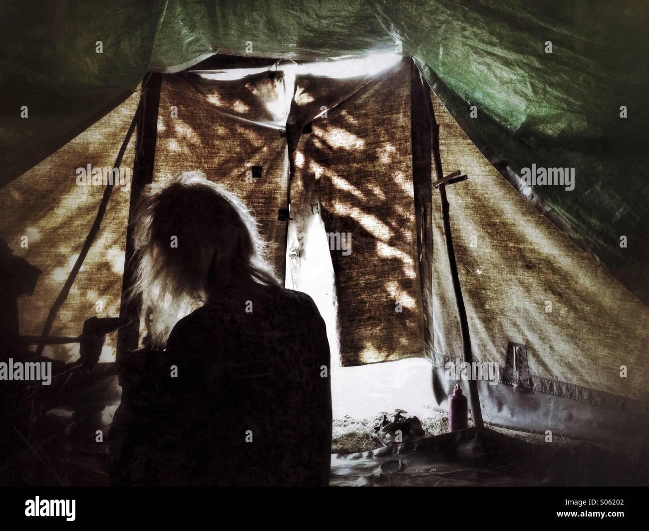 Im Inneren des Zeltes Stockbild