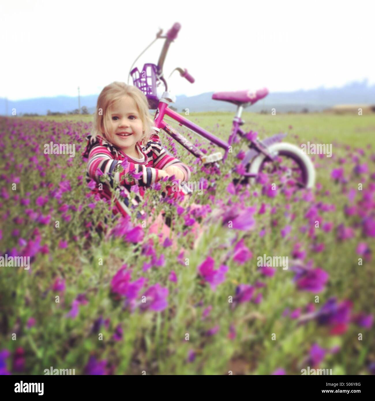 Junges Mädchen in blumigen Feld Stockbild