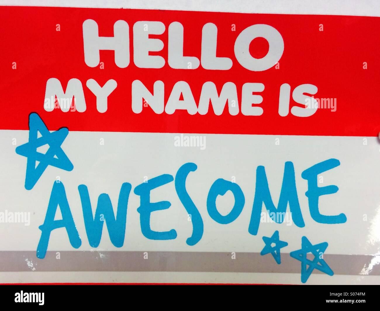 Hallo ist mein Name genial Stockbild