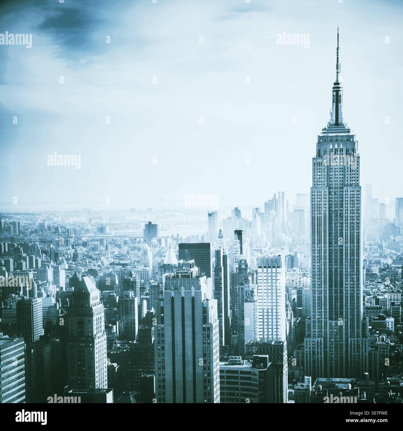 Blick über Manhattan, NYC, darunter Empire State Building Stockbild