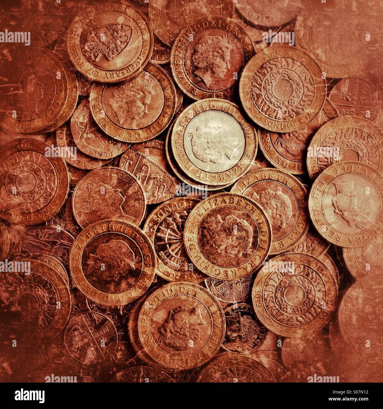 Ein Vorrat an britische £2 Münzen Stockbild