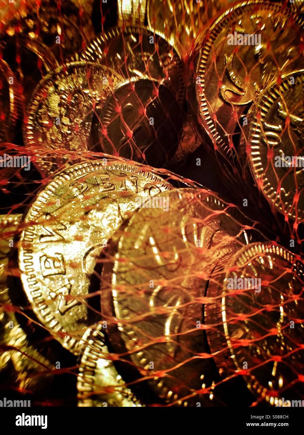 Schokoladen-Münzen Stockfoto