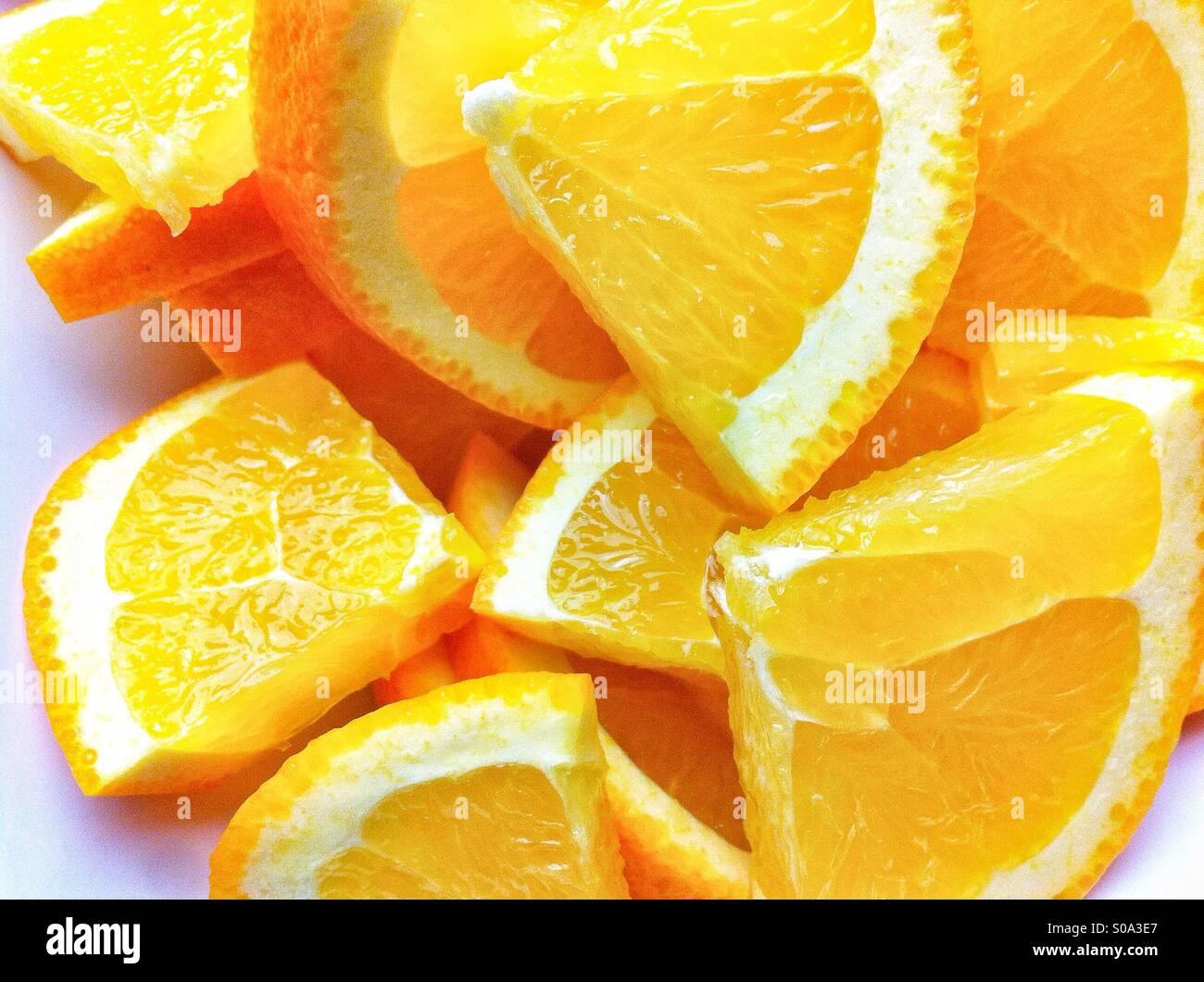 Haufen von Orangenscheiben Stockbild