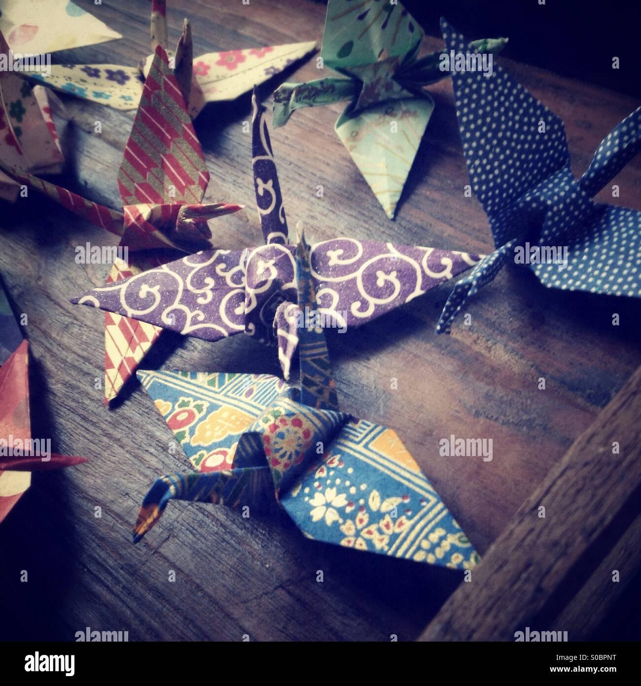 Japanisches Papier Origami-Kranich Stockbild