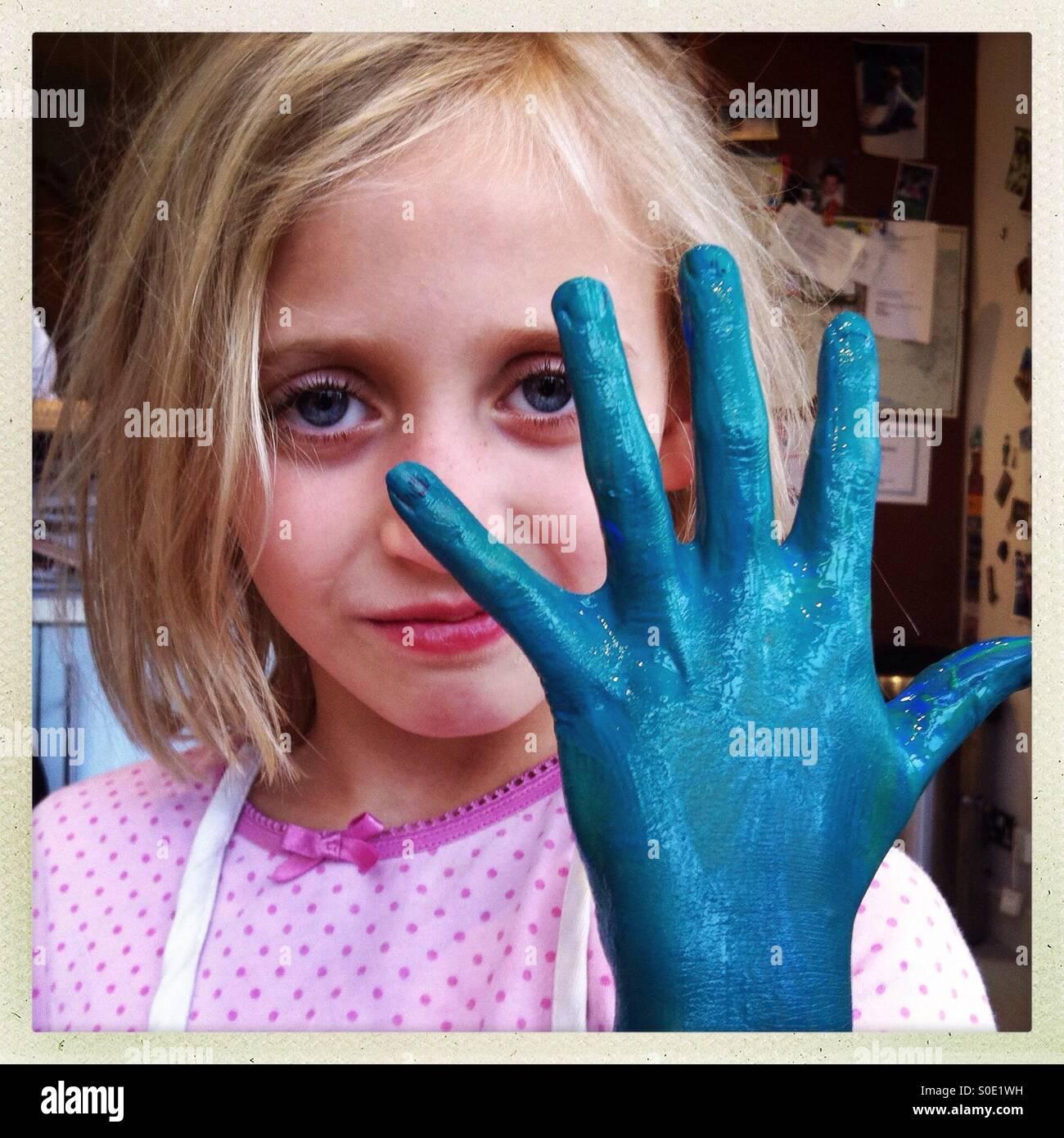 Blaue hand Stockbild