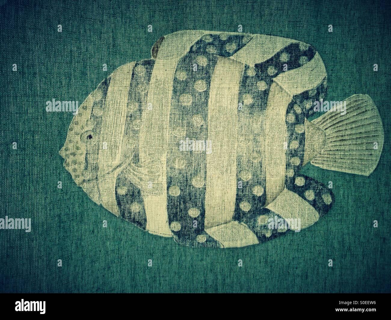 Fisch auf einen grünen Vorhang Stockbild
