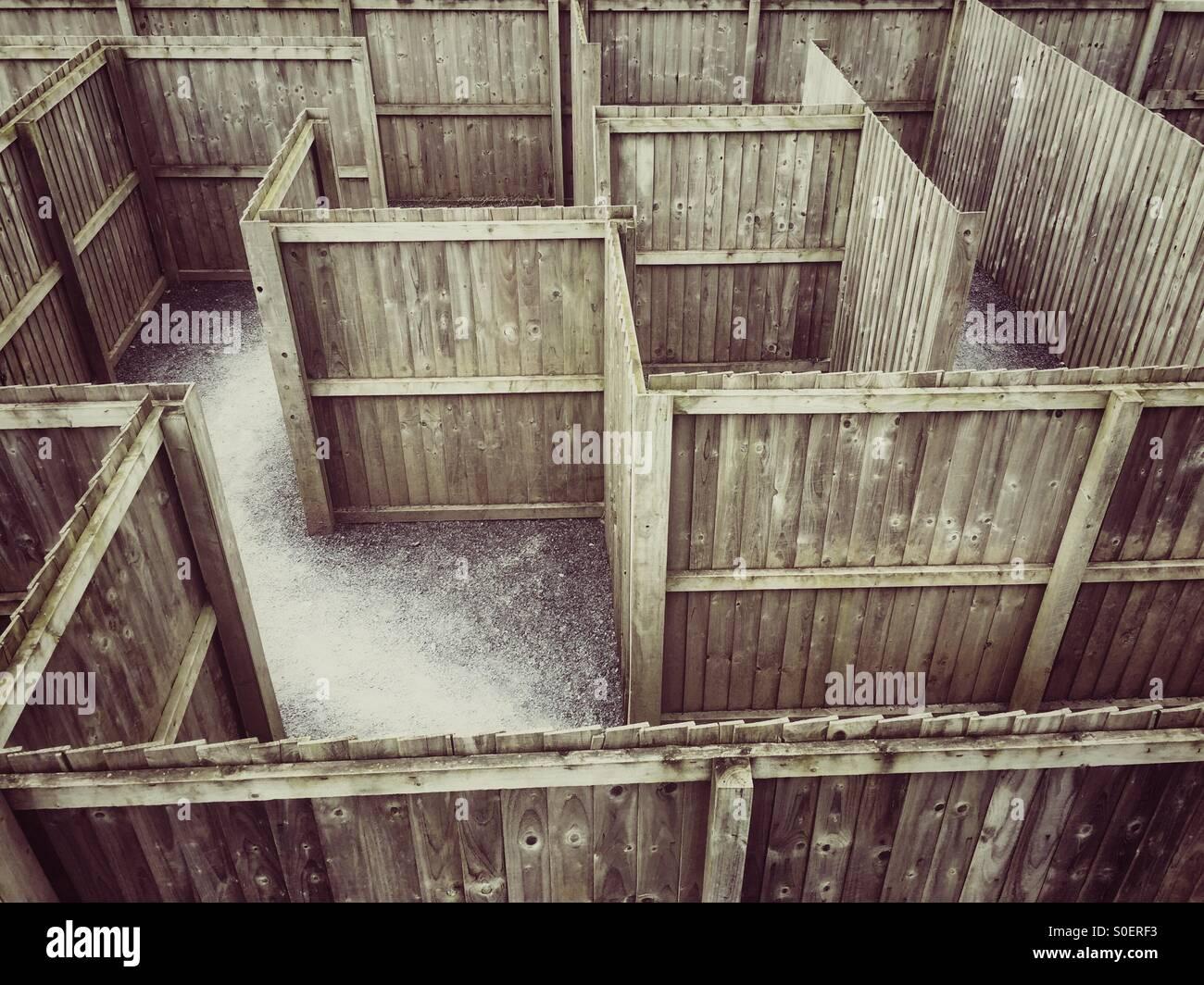 Labyrinth aus Holz Stockfoto