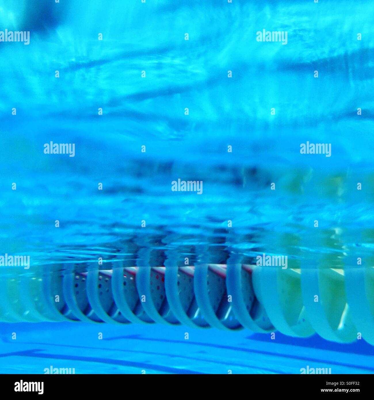 Unterwasser-Blick von einem Outdoor-25 Meter olympisches Schwimmbad Spur Linie. Kalifornien, USA. Stockbild