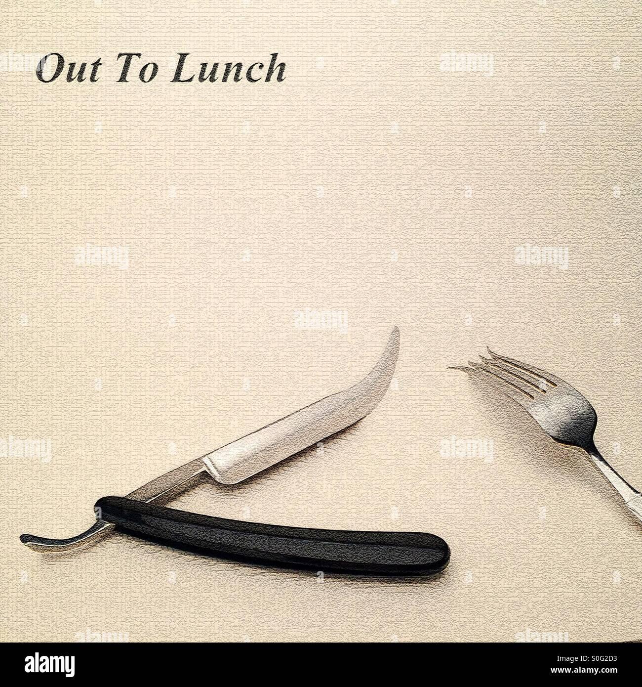 Um eine künstlerische Impression einer minimalistischen futuristische Steampunk-Mittagessen-Einstellung mit Stockbild