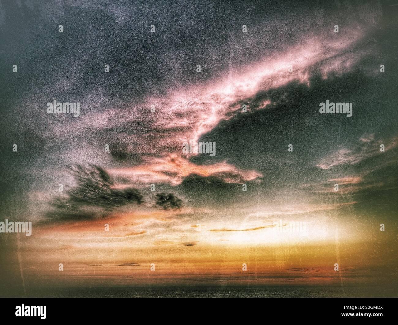 Sonnenuntergang Meer Stockbild