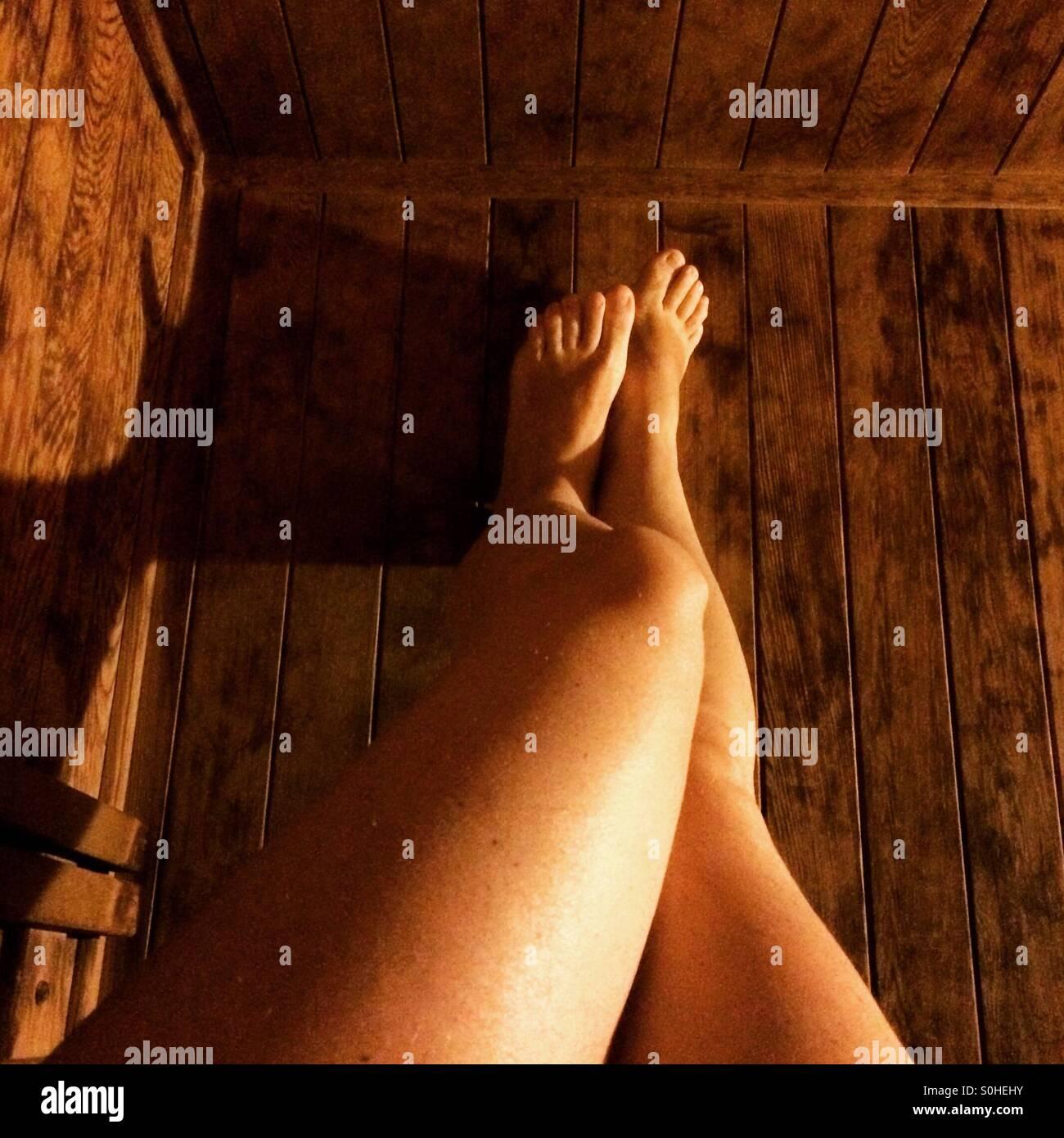 Sauna-Beine Stockbild